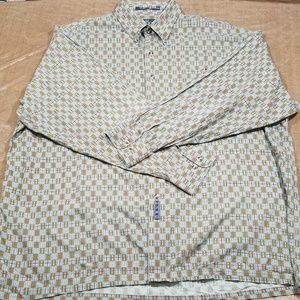 Enro Brown Gray Geometric Mens Dress Shirt 2X Big